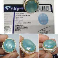 Natural Blue Aquamarine Beryl Jumbo memo SkyLab Ring Perak