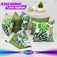 Paket Sarung Bantal Sofa + Taplak Meja Tamu - Talas Hijau