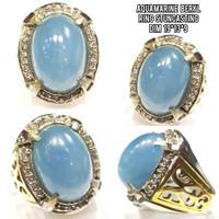 Cincin permata batu aquamarine beryl natural ring mewah