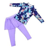 Baju renang anak perempuan panjang floral impor Diving Ungu - Ungu, XXL
