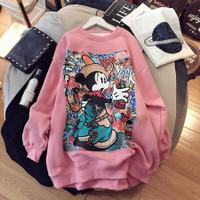 Sweater Wanita Jumbo Glamour Mickey Fleece Tebal Premium Termurah