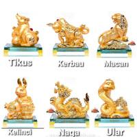 Patung Emas 12 Shio Pajangan Patung Zodiac China Naga Kebo kuda Ular - Shio Tikus