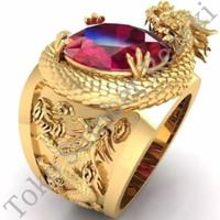Cincin Naga Dragon Emas Gold Titanium Ruby Anti Karat Pria Wanita