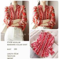 Blouse merah maroon 0749 peplum mandarin collar shirt import