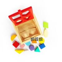Mainan Edukatif / Edukasi Anak - Balok Puzzle Kayu - Kotak Pas Natural