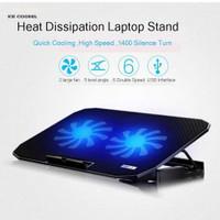 Cooling Pad Laptop Adjustable Stand Laptop 2 Kipas USB port Termurah - Hitam