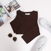 Kaos Polos Lengan Panjang (Coklat Tua) Premium - S