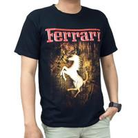 Kaos T-Shirt Pria Lengan Pendek Gambar Ferrari - Hitam