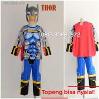 Baju Setelan Kostum Superhero Anak THOR 5-8 Tahun TOPENG NYALA