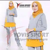 Baju Training Stelan Senam Plat Kargo - Kaos olahraga wanita - Yovis