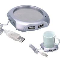 USB 2.0 Coffee Cup Warmer Pad with 4 USB Ports Hub - Silver