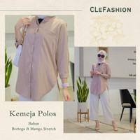 Baju Kemeja Polos Wanita Premium Lengan Panjang Mango Stretch Terbaru