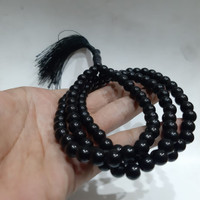 TASBIH BATU BLACK ONYX 99 BUTIR 8MM NATURAL 100%