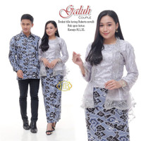 Baju Couple Atasan Kebaya Batik Brokat Sarimbit Kutu Baru Wanit - Abu