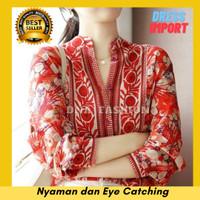 Baju Atasan Wanita Top Blouse Kemeja Kerah Mandarin Import Bangkok