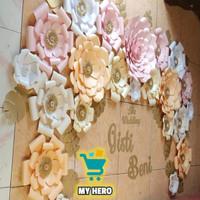 backdrop tasyakuran paper flower hiasan dinding keren nikahan lamaran