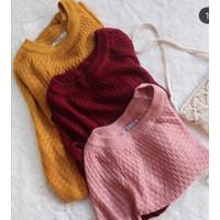 Atasan Wanita Sabrina - Rajut Wanita - Sweater Rajut Model Sabrina