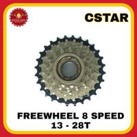 CSTAR Freewheel Sepeda 8 Speed 13-28T Model Drat
