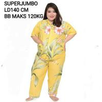 SUPER JUMBO LD 140 -SET PIYAMA - BAJU TIDUR WANITA CP YELLOW LEAVES