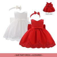 Dress Bayi Perempuan set Bando/ Gaun Pesta Merah Putih / Baju Ultah