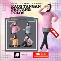 Atasan Olahraga Wanita Baju Kaos Olahraga Tangan Panjang Wanita Polos