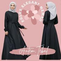 Gamis polos balotelli maxi dress syari muslim terbaru warna hitam