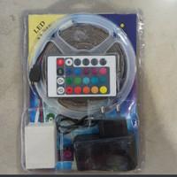 Lampu led strip rgb warna warni ip44 3528 2835 komplit set adaptor