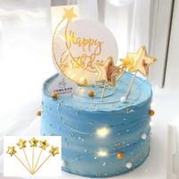 5 Pcs Topper Kue Ulang tahun Hiasan Kue Bentuk Bintang
