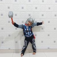 TANPA PALU,baju anak, kostum thor + topeng, kostum superhero 1-10 th