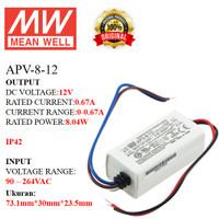 MEANWELL Power Supply APV-8-12 APV 8 12 APV812 Ballast 12v Indoor IP42