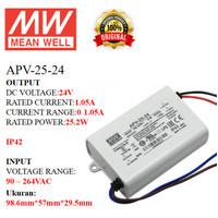 MEANWELL Power Supply APV-25-24 APV 25 24 APV2524 Ballast 24v Indoor