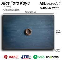 Alas foto kayu real / wooden Background / Backdrop photo - Navy Blue