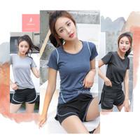 Baju Kaos Olahraga Wanita Dry fit Lengan Pendek T shirt Sport Lari Gym