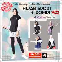 Hijab Instan Sport + Rompi Vest Outer Olahraga, Outfit Fashionable Set
