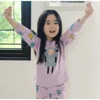 (3 pcs) Kazel Piyama Baju Tidur Anak Perempuan Ukuran Besar 2-5 tahun