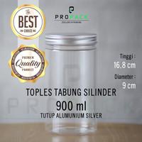 TOPLES PLASTIK 900ML TUTUP ALUMUNIUM SILVER / BOTOL FOOD JAR SNACK KUE