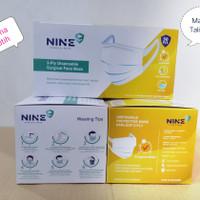 Masker Nine Surgical face mask 3 ply model tali lebar isi 50 pc putih