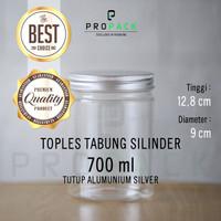 Toples Plastik 700ml Tutup Alumunium Silver / Botol Jar Snack Kue