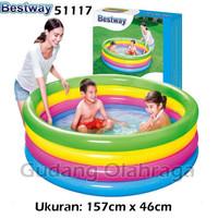 Bestway 51117 Kolam Renang Anak Karet Pelangi 4 Ring [157cm x 46cm]