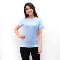 Mosiru Baju Atasan Kaos POLOS Baby Terry Wanita Biru Muda