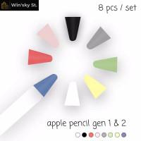 Apple Pencil 1 / 2 Nib Tip Cover Protector Case - 8 pcs Mixed Color
