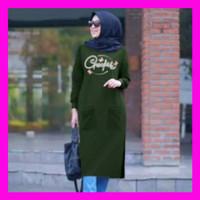 Baju Atasan Muslim Wanita CREO Bahan BabyterryFIT TO XL (LD 110) - NG - Army, all size