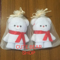Souvenir Handuk Beruang Putih/Souvenir Natal/Kelahiran/Ulang Tahun