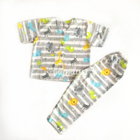 Piama anak baju tidur anak katun laki-laki animal stripe