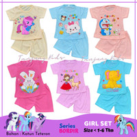 Baju Setelan Kaos Stelan Anak Bayi Perempuan Cewek Usia 1- 6 thn Murah