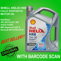 Oli Mesin Mobil Shell Helix HX8 5W-30 Fully Synthetic. KEMASAN 4 LITER