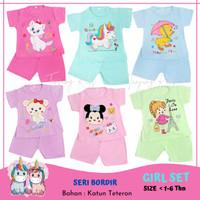 Baju Setelan Stelan Kaos Anak Bayi Perempuan Cewek Usia 1- 6 thn Murah