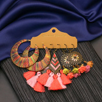 Anting Set tusuk hijab hooks tassel panjang etnik hoops boho bohemian