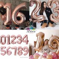 Balon foil huruf / balon foil angka besar 80cm rose gold - 9