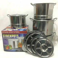 Panci set stainless steel stockpots steamer 555 4 in 1